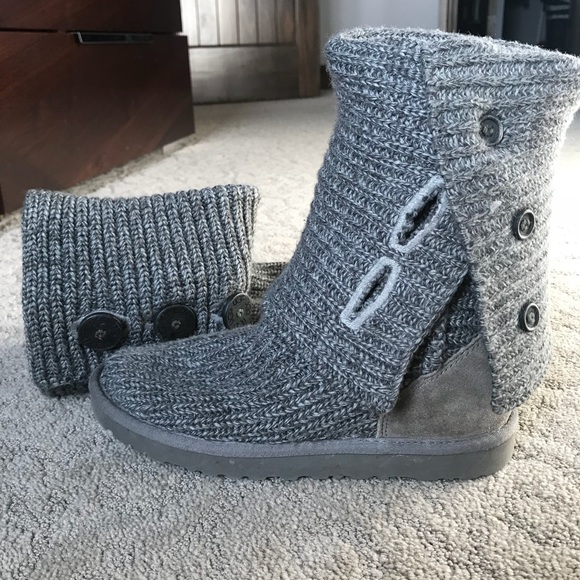 Ugg Shoes Grey Cable Knit Sweater Boots Poshmark
